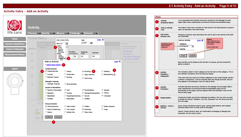 Virgin Add Activity Wireframe
