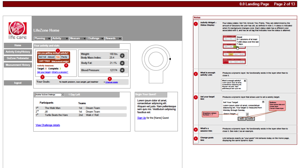 Virgin Dashboard Wireframe
